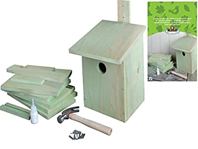 Esschert design KG52 24 x 22 x 17cm Children's Wood Set of Building Bird House - Natural from Esschert
