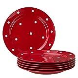Van Well Emily 6er Set Speiseteller rot-weiß gepunktet, rund Ø 275 mm, großer flacher Steingut Teller, Essteller