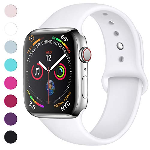 Lerobo Sport Correa para Apple Watch Correa 38mm 42mm 40mm 44mm, Pulsera de Repuesto de Silicona Suave Correa para Apple Watch Series 4, Series 3, Series 2, Series 1, 42mm/44mm S/M Bianco