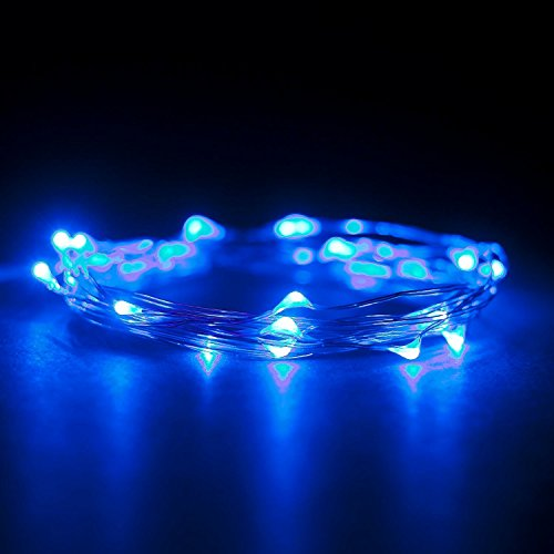Top-Longer 6.6ft LED Silber-Schnur-Licht-Batterie betrieben Fairy Light mit 20 helle LEDs Ultra Thin String für Blume Baum Dekoration -2 Sets(Blau)