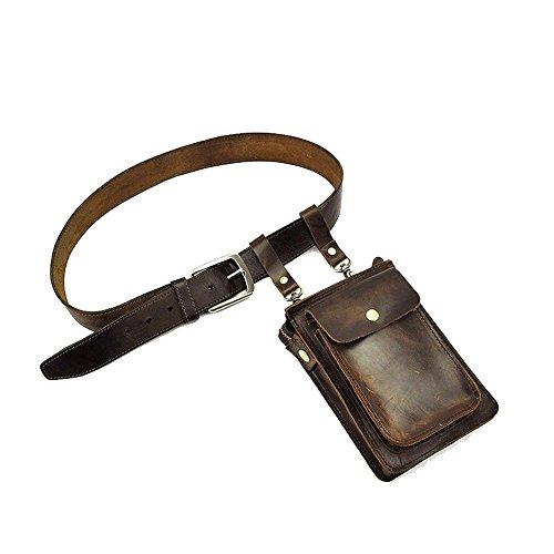 Paonies Herren klein Büffelleder Tasche Handytasche Hüfttasche Geldbeutel Schultertasche (Dunkelbraun) Dunkelbraun