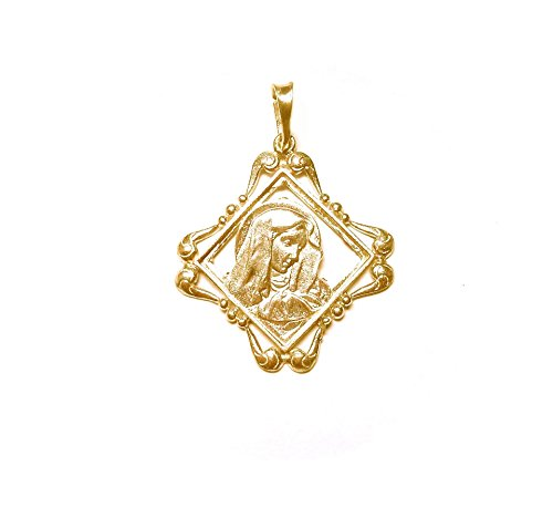 Sacred Line: Virgin Mary Pendant Renaissance Sterling Silver Gold Plating 24K