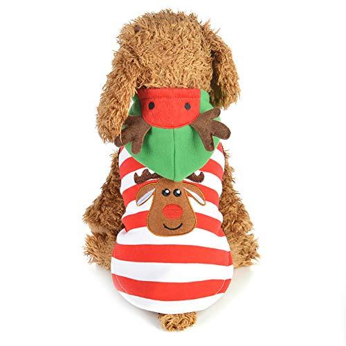 PET Weihnachtskostüme Dog Suit Cap Santa Claus Kleidung Pet Kleidung gestreift Elk Coat Dog Kostüm,XS