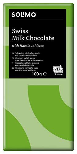 Marque Amazon - Solimo Chocolat au lait suisse avec des morceaux de noisettes 1,2 kg  ( 12 tablettes de 100 g)