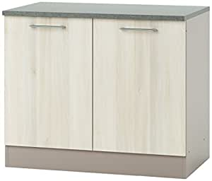 Demeyere 337988 Chef Meuble Bas de Cuisine Panneau de Particules Acacia/Basalte 100 x 60 x 85 cm