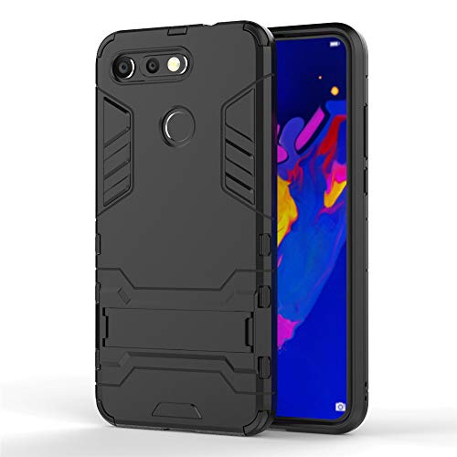 Huawei Honor View 20/V20 Hülle, MHHQ Hybrid 2in1 TPU+PC Schutzhülle Rugged Armor Case Cover Dual Layer Bumper Backcover mit Ständer für Huawei Honor View 20/V20 -All Black Dual-view-case