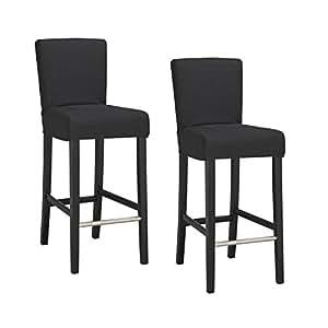 ELVIS Lot de 2 chaises de bar déhoussables noires