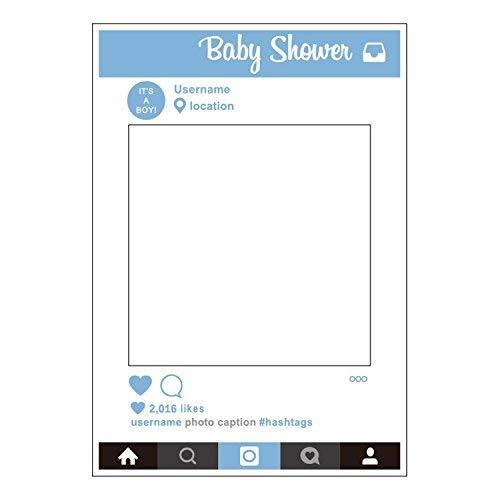 Weddecor GRANDE Social Networks stile cabina per fototessere materiale di scena SELFIE SOLO TELAIO PER da bambino BABY SHOWER BLU