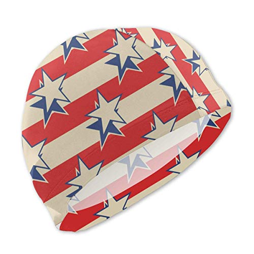 Schwimmhaube, Retro Stars Stripes USA Patriotic Swim Caps for Kids Boys and Girls Baby Bathing Caps for Long and Short Hair