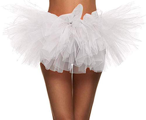 Ruiuzi Damen Tütü Rock Minirock 4 Lagen Petticoat Tanzkleid Dehnbaren Mini Skater Tutu Rock Erwachsene Ballettrock Tüllrock für Party Halloween Kostüme ()