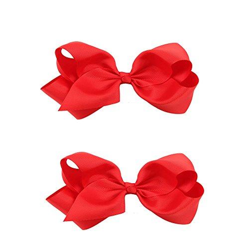 Doitsa 2 Stück Haarspangen Haarklammern Haarschmuck mit Schleife Deko für Mädchen/süße Haarclip für Kinder size 12*8CM (Rot)
