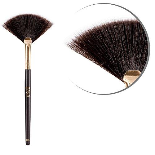 Bronzer Fan Makeup Pinsel - B6 vegan professionelle beständige Synthetische Haar Fasern Shimmering Brush - Perfekt zum einfachen Auftragen von Mineral Bronzer Schimmer Puder -
