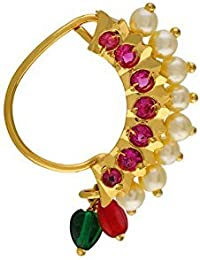 VAMA Fashion Traditional Maharashtrian Nath Multicolour Gold Plated Without Piercing Press or Clip on Type Nose Ring Pin for Women.