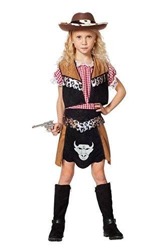 Kinder Kostüm West Wild - Cowboy-Kostüm Kinder Mädchen Oberteil Weste und Rock braun schwarz Cowgirl Kinderkostüm Wilder Westen Karneval Fasching Hochwertige Verkleidung Größe 128 Schwarz/Braun