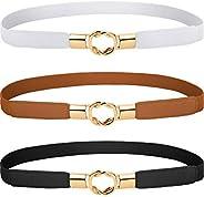 3 Pieces Women Skinny Waist Belt Elastic Thin Belt Waist Cinch Belt for Women Girls Accessories