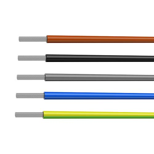 NorthPada 12 AWG 3,31mm² Elektronik Elektrischer Draht Kit Litzen Silikon Leitungen Draht Verzinntes Kupfer Kabel 5 Farbe 600V 30A -60°C - +200°C 5 x 3meter -
