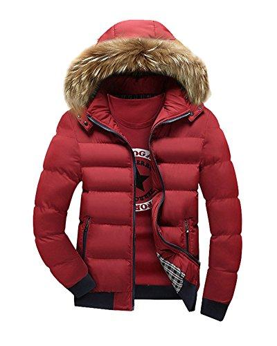 LaoZan Uomo Cappotto invernale con Cappuccio di pelliccia ecologica Giacca con cerniera M Rosso