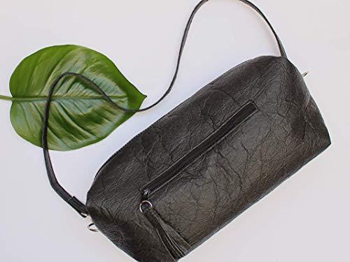 Piñatex® Handtasche, schwarze Umhängetasche aus Ananasfaser, vegan, schwarze Schultertasche, Geschenk, - 6