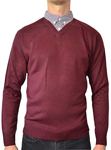 Preisvergleich Produktbild Pierre Cardin Jahreszeit V-Ausschnitt und Rundhalsausschnitt-Pullover mit Hemdkragen Mock Hemd Einsatz (4XL