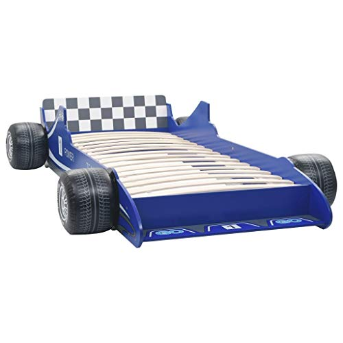 t Lattenrost Autobett Jugendbett Babybett Spielbett Einzelbett Schlafzimmer Kinderzimmer Kindermöbel Rennwagen Design 90x200 cm Blau ()