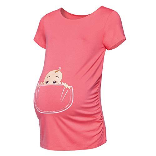 Solike Lustige Witzige Süße Umstandsmode Damen T-Shirt Umstandsshirt mit Motiv für die Schwangerschaft Oberteil Schwangerschaftsshirt, Kurzarm
