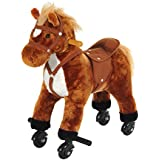 HOMCOM Wooden Action Pony Wheeled Walking Horse Riding Little Baby Plush Toy Wooden Style Ride on Animal Kids Gift w/ Sound