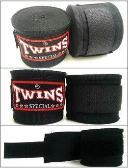 Twins Special Muay Thai Boxing Handwraps, Schwarz, ()