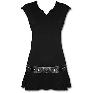 Spiral Plain Mini Kleid, schwarz