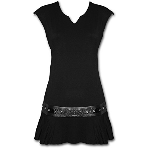 Spiral – Women – GOTHIC ROCK – Stud Waist Mini Dress Black – Small