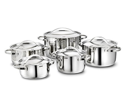 Kopf Stilo Cookware Set Suitable for Induction Hobs, Stainless Steel, 10-Piece Pot Set (with 5 Lids)