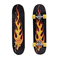 QOZY Complete Skateboards, Skate Board 80cm, Fire Dragon Maple Wood Deck, Light Up LED Wheels, Double Kick Concave Longboards, for Adults Beginner Starter Kids Boys Girls Youth Tricks Gift