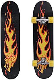 QOZY Complete Skateboards, Skate Board 80cm, Fire Dragon Maple Wood Deck, Light Up LED Wheels, Double Kick Con
