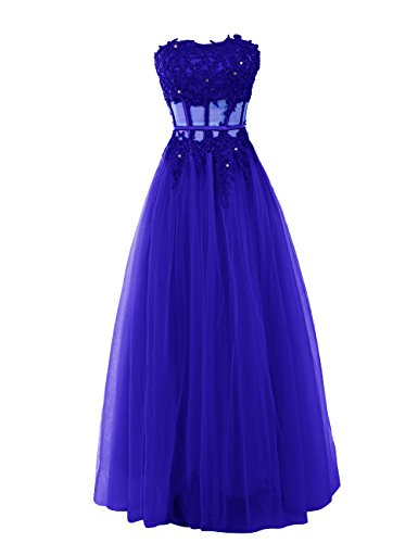 Dressystar Robe femme, Robe de soirée longue,bustier,appliques,en tulle Bleu Saphir
