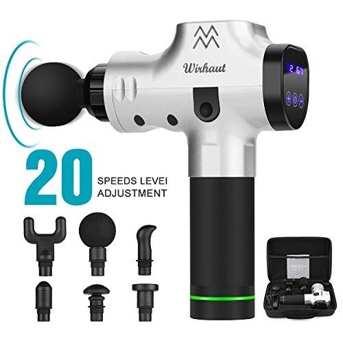 Massagegerät Pistole, Wirhaut Handmuskelmassagegerät Muskelmassagegerät mit 6 Köpfen für alle Gelenke 5-Gang-Vibrationsalarm mit LED-Anzeige