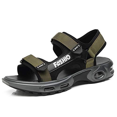 d Sandalen Für Männer Im Freien Wasser Schuhe Mesh Stoff Haken Schleife Gurt Atmungs Perforierte Luftpolster Laufsohle Hausschuhe (Color : Grün, Größe : 41 EU) ()