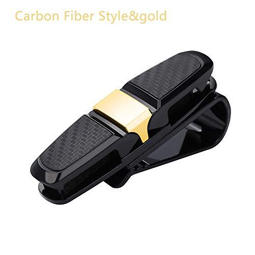 Portable Vehicle Accessory Sun Visor Dual Side Carbon Fiber Car Glasses Clips Card Pen Holder Sunglasses
