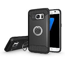 Coque Samsung Galaxy S7 Edge, Olliwon® Etui pour Samsung Galaxy S7 Edge, Anti-poussière Anti-Choc,2 en 1 Hybride Armour Coque TPU + PC ,Excellent Toucher avec 360 Rotation Anneau, Avec Bague Béquille Métal Housse Etui Pour Galaxy S7 Edge - Noir