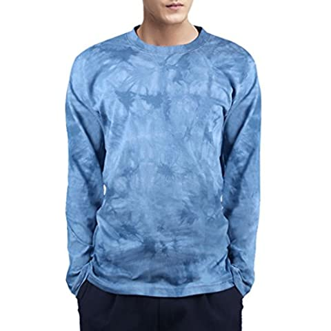 QIYUN.Z Mens Solid Color Tie-Dye Long Sleeve T-Shirts Blouses