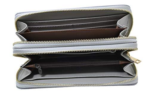Portafoglio Donna Grande, Eco Pelle, con Cerniera Zip e Portamonete (Grigio)