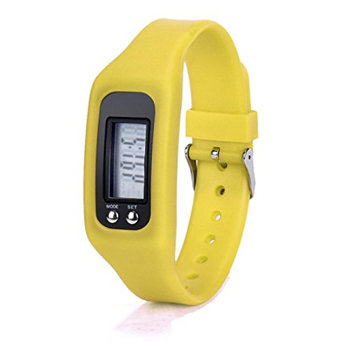 Digital LCD Pedometer, Bescita New Fashion Unisex Run Step Walking Distance Calorie Counter Watch Bracelet (Yellow)