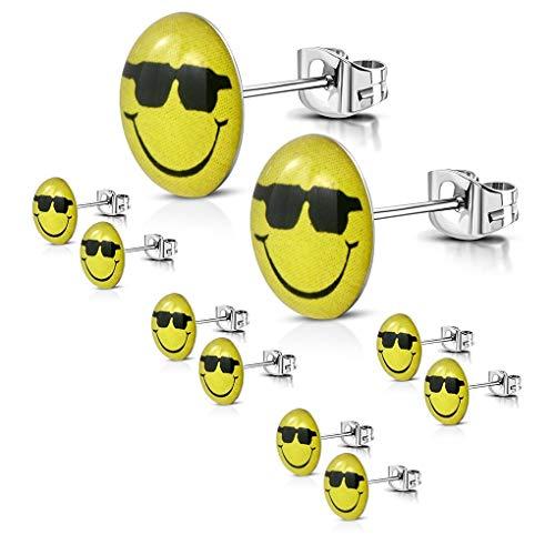 5 Paar Edelstahl mit Acryl 3-Ton Smiley Sonnenbrille Gesicht runden Kreis Emoticon Emoji Ohrstecker 9mm