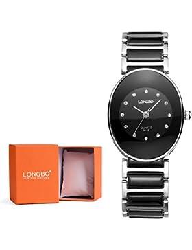 Longbo Luxus Damen Unisex Silber Link & Schwarz Keramik Armband Analog Quarz Uhren Casual Business Armbanduhr...