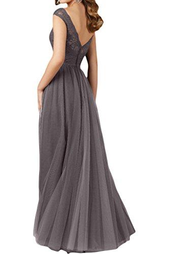 Promgirl House Damen Elegant Grau Spitze A-Linie Rundkragen Abendkleider Cocktail Ballkleider Lang Grün