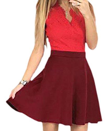 erdbeerloft - Damen Kurzes A-Linien Kleid in Spitzenoptik, 34-42, Viele Farben Rot