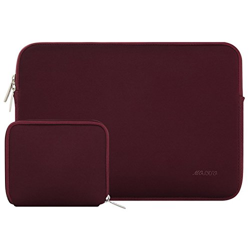 MOSISO Wasserabweisend Neopren Hülle Sleeve Tasche Kompatibel 11-11,6 Zoll MacBook Air, Ultrabook Netbook Tablette Laptophülle Laptoptasche Notebooktasche mit Kleinen Fall, Weinrot
