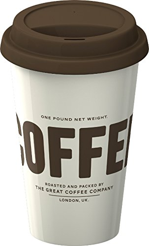 EVERYDAY HOME Coffee INSULATED CERAMIC Take Away TRAVEL MUG With Silicone Lid