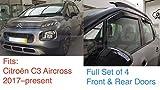 4x Deflettori D'Aria Compatibile con Citroën C3 Aircross 2017 -presenti Antiturbo Per Auto Vetro Acrilico Anti Vento Guardia di Pioggia Sole Neve Qualità premium PMMA
