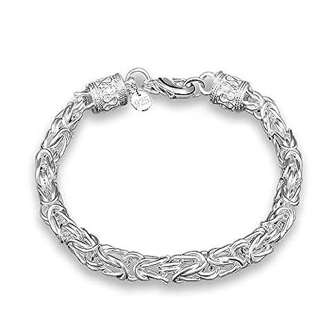 bodya géométrique Plaqué Argent pour Bracelet Collier 20,3cm Large en maille de chaîne bracelet en