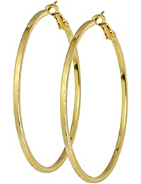 DzineTrendz Gold Plated Brass, Round Shape Big Size, Hoop Bali Earring For Women And Girls Brass Hoop Earring