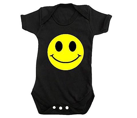 SMILEY FACE baby grow bodysuit FUNNY CUTE ACID HOUSE RAVE t shirt BNWT ROMPER